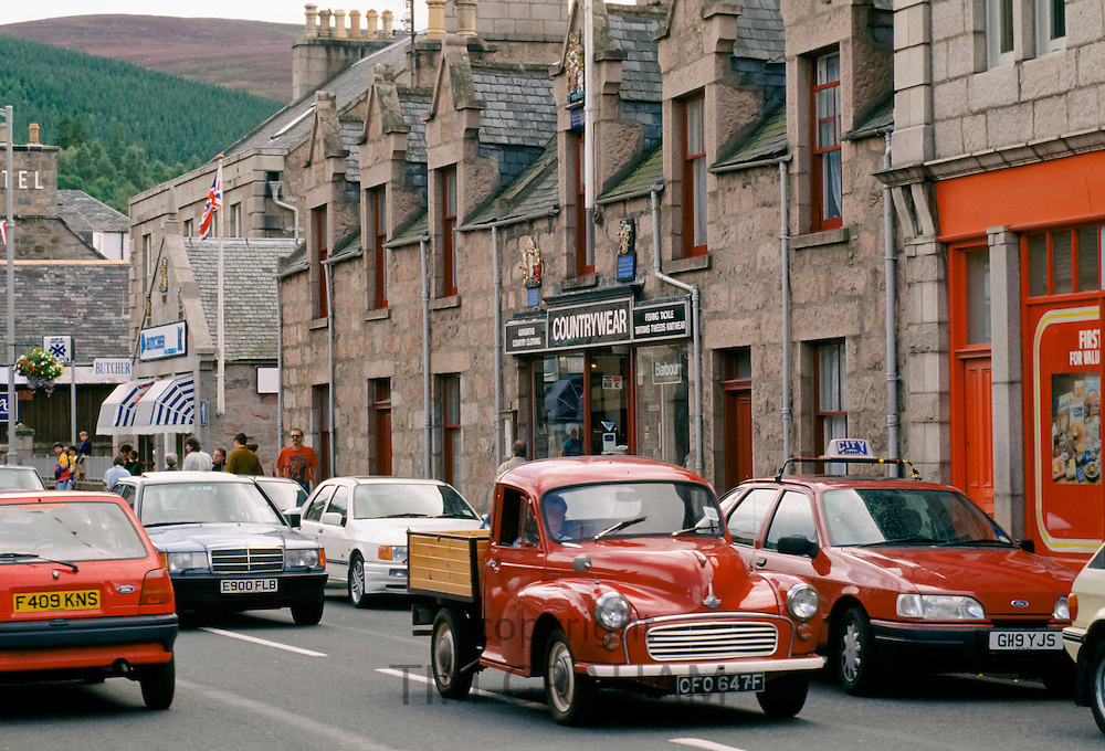 1967 Morris Minor pick-up car in Ballater High Street in Scotland in the late 1980s, UK