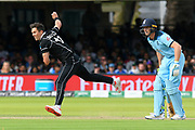 Trent Boult of New Zealand bowling during the ICC Cricket World Cup 2019 Final match between New Zealand and England at Lord's Cricket Ground, St John's Wood, United Kingdom on 14 July 2019.