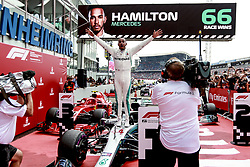 July 22, 2018 - Hockenheim, Germany - Mercedes AMG driver LEWIS HAMILTON celebrates in Parc Ferme after winning the Formula One German Grand Prix at the Hockenheimring. (Credit Image: © Hoch Zwei via ZUMA Wire)