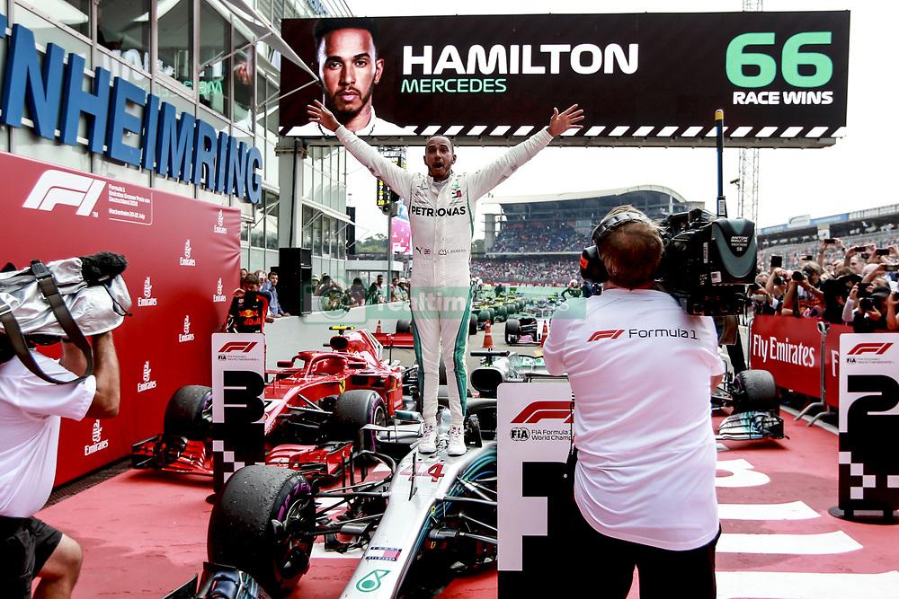 July 22, 2018 - Hockenheim, Germany - Mercedes AMG driver LEWIS HAMILTON celebrates in Parc Ferme after winning the Formula One German Grand Prix at the Hockenheimring. (Credit Image: © Hoch Zwei via ZUMA Wire)