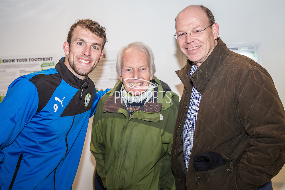 Forest Green Rovers Christian Doidge(9) with his shirt sponsors during the Vanarama National League match between Forest Green Rovers and Macclesfield Town at the New Lawn, Forest Green, United Kingdom on 4 March 2017. Photo by Shane Healey.