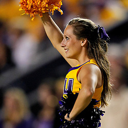 November 13, 2010; Baton Rouge, LA, USA; A LSU Tigers cheerleader performs during the first half of a game against the Louisiana Monroe Warhawks at Tiger Stadium.  Mandatory Credit: Derick E. Hingle
