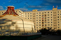 Mongolie, Oulan Bator, architecture des annees 60, epoque sovietique // Mongolia, Ulan Bator, 1960 architecture, soviet time