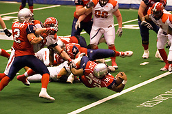 14 March 2009: On a block by Robert Redd, Keith Brooks sails over the goal line for an Extreme touchdown. The Sioux Falls Storm were hosted by the Bloomington Extreme in the US Cellular Coliseum in downtown Bloomington Illinois.