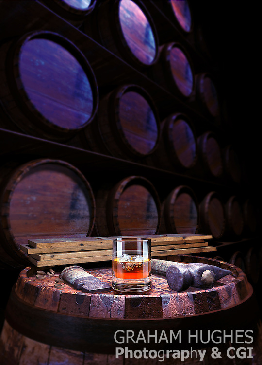 Whisky In Glass On Barrel, With Tools In front Of Wall Of Barrels
