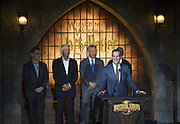 Apr 05, 2016 - Los Angeles, U.S. -  <br /> Los Angeles Mayor Eric Garcetti speaks during the opening of ''the Wizarding World of Harry Potter'' at the Hogwarts castle of the Universal Studios in Hollywood  also in attendance Steven Spielberg<br /> (Credit Image: © Exclusivepix Media)