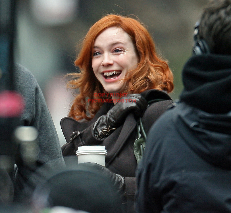 "Christina Hendricks is seen in Post Office Square this morning, March 9, 2011, while shooting scenes from her upcoming movie  ""I Don't Know How She Does It"""