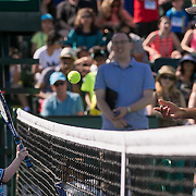 March 7, 2015, Indian Wells, California:<br /> Rajeev Ram plays with kids on court during Kids Day at the Indian Wells Tennis Garden in Indian Wells, California Saturday, March 7, 2015.<br /> (Photo by Billie Weiss/BNP Paribas Open)