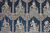 Thailande, Bangkok, le Wat Pho, temple du Bouddha couché, details des pieds du Bouddha en nacre // Thailand, Bangkok, Wat Pho, sleeping Buddha temple, details of Buddha feet