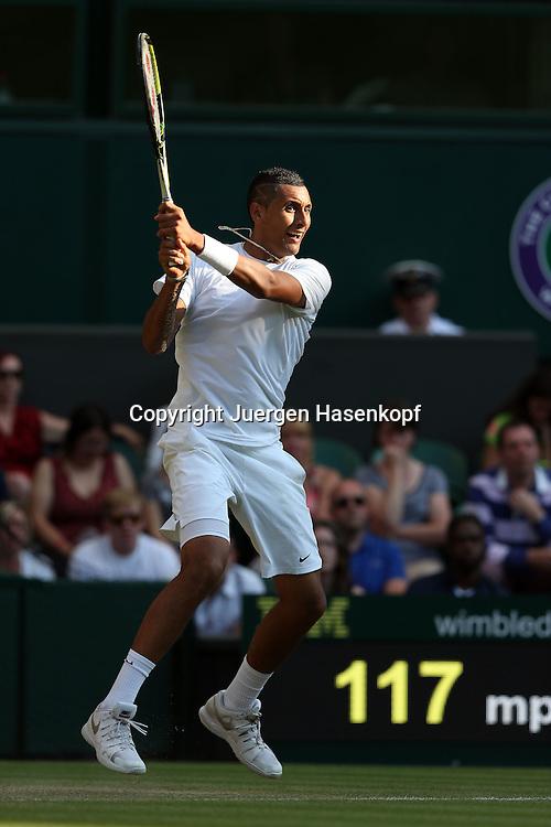 Wimbledon Championships 2014, AELTC,London,<br /> ITF Grand Slam Tennis Tournament,<br /> Nick Kyrgios (AUS),Aktion,Einzelbild,<br /> Ganzkoerper,Hochformat,