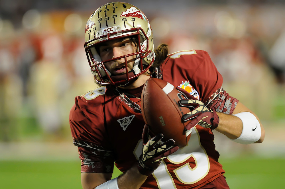 January 1, 2013: Josh Gehres #19 of Florida State warms up before the NCAA football game between the Northern Illinois Huskies and the Florida State Seminoles at the 2013 Orange Bowl in Miami Gardens, Florida. The Seminoles defeated the Huskies 31-10.