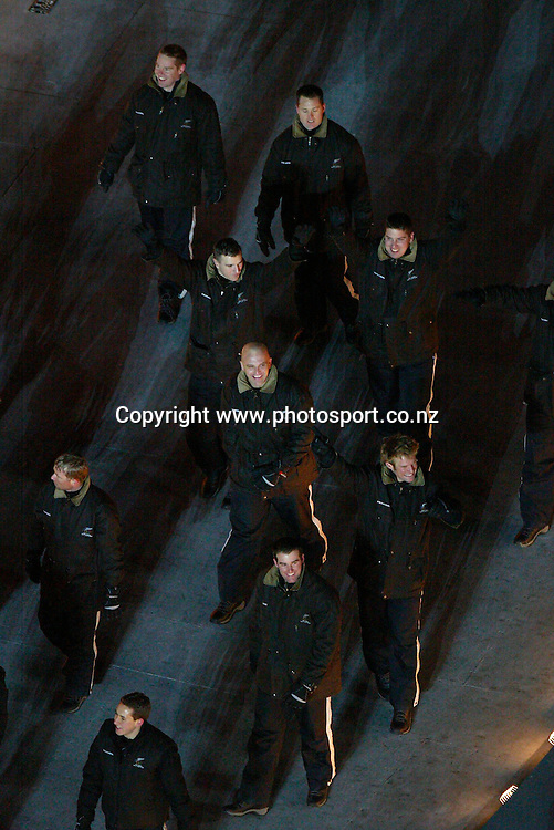 The New Zealand bobsled team are welcomed at the opening ceremony of the Winter Olympics, Salt Lake City, Utah,  USA, 8 February, 2002. Photo: PHOTOSPORT<br />