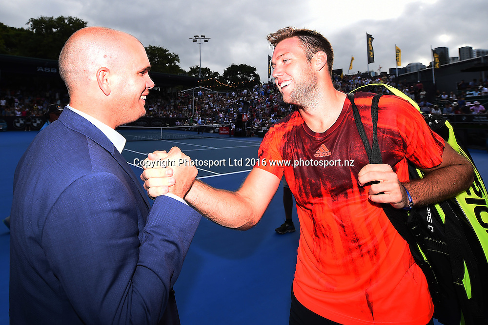 Tournament Director Karl Budge congratulates Jack Sock after his Semi Final win over David Ferrer of Spain during Day 5 Semi Finals of the 2016 ASB Classic Mens. ASB Tennis Centre, Auckland, New Zealand. Friday 15 January 2016. Copyright Photo: Chris Symes / www.photosport.nz