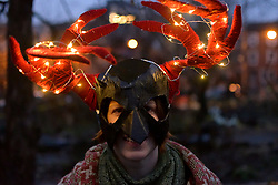 People dressed in horned Krampus costumes participate in the eight annual Parade of Spirits Krampus Parade through the Northern Liberties neighborhood of Philadelphia, PA on December 15, 2018.  Krampus hails from European traditions like the controversial Zwarte Piet (Black Pete) from the Netherlands and similar characters who — in folklore of various European cultures —  go after misbehaved children.