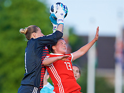 NEWPORT, WALES - Tuesday, June 12, 2018: Wales' Rachel Rowe and Russia's goalkeeper Elvira Todua during the FIFA Women's World Cup 2019 Qualifying Round Group 1 match between Wales and Russia at Newport Stadium. (Pic by David Rawcliffe/Propaganda)
