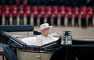 Britain's Queen Elizabeth II arrives to Horse Guards Parade for the Trooping the Colour ceremony in London, Britain, 13 June 2013. Trooping the Colour is a ceremony to honour Britain's Queen Elizabeth II's official birthday.