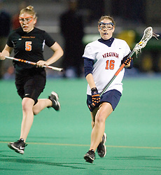 Virginia Cavaliers A Ashley McCulloch (16) in action against Virginia Tech.  The Virginia Cavaliers Women's Lacrosse team defeated Virginia Tech at the University Hall Turf Field in Charlottesville, VA on February 21, 2007.