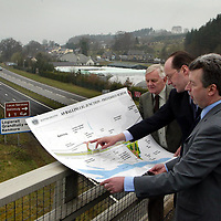 Deputy Minister for Transport Lewis Macdonald pictured at the accident blackspot at Ballinluig on the A9 after announcing that £4.2m will be spent on improving the junction to make it safer, also pictured are Norman McCandlish who has been at the forefront of the improvement campaign, local MSP John Swinney.<br />