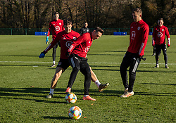 CARDIFF, WALES - Monday, November 18, 2019: Wales' Tom Lockyer (L) and Connor Roberts during a training session at the Vale Resort ahead of the final UEFA Euro 2020 Qualifying Group E match against Hungary. (Pic by David Rawcliffe/Propaganda)