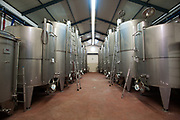 Stainless Steel fermentation vats in a winery