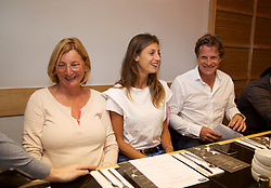 LIVERPOOL, ENGLAND - Thursday, June 15, 2017: Corinna Dentoni (ITA) and Tournament Director Anders Borg at Sapporo Teppanyaki  on Day One of the Liverpool Hope University International Tennis Tournament 2017 at the Liverpool Cricket Club. (Pic by David Rawcliffe/Propaganda)