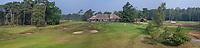 HILVERSUM -  panoramafoto hole 18  met de nieuwe puttinggreen. en hole 10 links.  het nieuwe clubhuis . Hilversumsche Golf Club, COPYRIGHT  KOEN SUYK