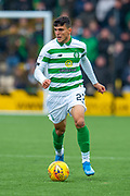 Mohamed Elyounoussi (#27) of Celtic FC runs forward during the Ladbrokes Scottish Premiership match between Livingston FC and Celtic FC at The Tony Macaroni Arena, Livingston, Scotland on 6 October 2019.