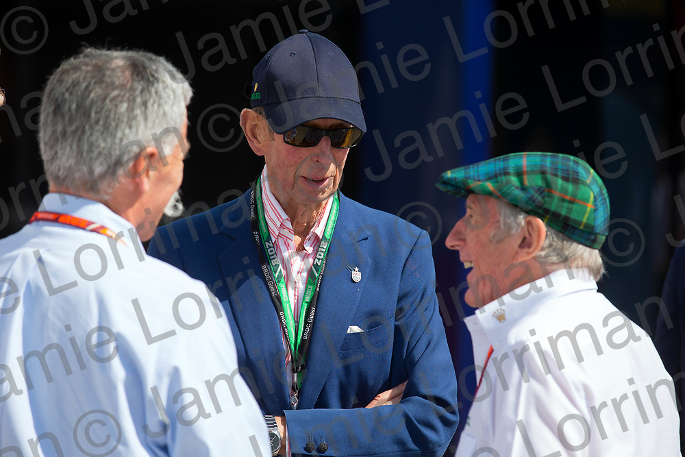 The 2018 Formula 1 F1 Rolex British grand prix, Silverstone, England. Friday 6th July 2018.<br /> <br /> Pictured: Prince Edward, Duke of Kent speaks with Chase Carey (CEO and executive chairman of the Formula One Group) and Sir Jackie Stewart OBE at the British F1 Grand Prix, Silverstone.<br /> <br /> Jamie Lorriman<br /> mail@jamielorriman.co.uk<br /> www.jamielorriman.co.uk<br /> 07718 900288