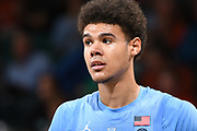 January 19, 2019: Cameron Johnson #13 of North Carolina in action during the NCAA basketball game between the Miami Hurricanes and the North Carolina Tar Heels in Coral Gables, Florida. The Tar Heels defeated the 'Canes 85-76.