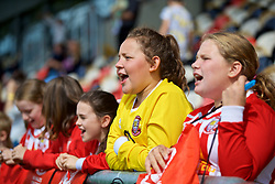 NEWPORT, WALES - Thursday, August 30, 2018: Young Wales supporters during a training session at Rodney Parade ahead of the final FIFA Women's World Cup 2019 Qualifying Round Group 1 match against England. (Pic by David Rawcliffe/Propaganda)