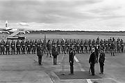 President John F. Kennedy arrives at Dublin Airport.  Kennedy replies to President de Valera's speech of welcome.  Onlookers include President Kennedy's sisters, Mrs. Eunice Shriver and Mrs. Jean Smith; An Taoiseach Seán Lemass; An Tanaiste Mr. Sean McAntee; Dr. James Ryan, Minister for Finance, and Mr. Frank Aiken, Minister for External Affairs.<br /> 26.06.1963