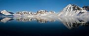 Midnight-sun scenery from Magdelenefjord, western Spitsbergen, Svalbard