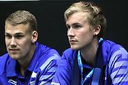 4.8.2014, Jäähalli, Helsinki, Finland.<br /> Koripallomaaottelu Suomi - Liettua / Basketball Friendly International match, Finland v Lithuania.<br /> Joonas Cavén & Carl Lindbom - Finland