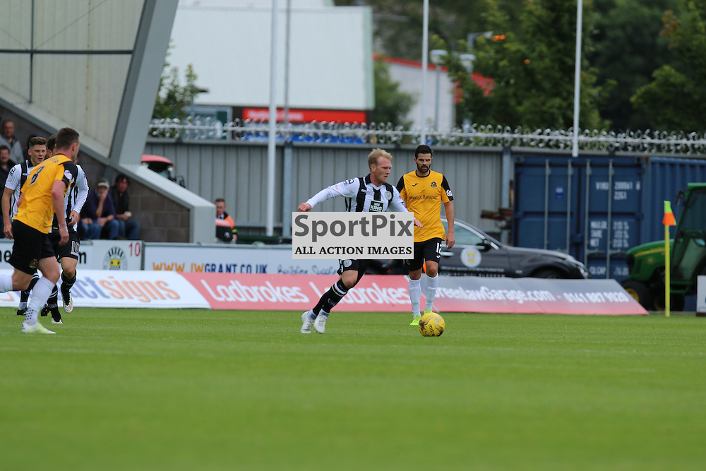 Scott Agnew against his old club  during the St Mirren FC V Dumbarton FC Scottish Championship 12th August 2015<br /> <br /> (c) Andy Scott | SportPix.org.uk