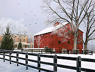 A Farm House With Red Barn And Fence In Winter Snow, Southwestern Ohio, USA