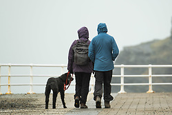 © Licensed to London News Pictures. Aberystwyth Wales UK, 28/02/2019.<br />  On the last day of meteorological winter, people in their rain-clothes, walk their dog  along the seafront in Aberystwyth on a grey,  cold and damp day , in sharp contrast to the recent record breaking heat and sunshine, and much more  typical windy and cooler conditions to be expected at the end of February and beginning of March<br /> Photo credit Keith Morris / LNP