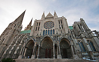 Our Lady of Chartres Cathedral, Chartres, France. Looking up at  the south facade and the 3 portals where the  iconography represents the Second Coming of Christ. The south transept Rose Window is also dedicated to Christ.