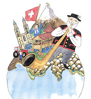 A relief map of Switzerland sits on top of a globe and the Swiss  landmarks are drawn onto this map.