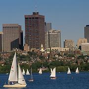 Massachusetts, Boston; Collegiate Sailing On Charles River; Back Bay & Boston Skyline In Background