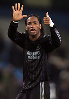 "Photo: Paul Thomas.<br /> Manchester City v Chelsea. The Barclays Premiership. 14/03/2007.<br /> <br /> Didier Drogba of Chelsea gives their fans, ""only 6 points behind"" gesture."