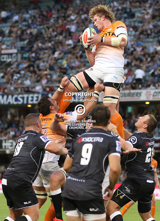 DURBAN, SOUTH AFRICA - FEBRUARY 14:Jean Cook of the Cheetahs during the Super Rugby match between Cell C Sharks and Toyota Cheetahs at Growthpoint Kings Park on February 14, 2015 in Durban, South Africa. (Photo by Steve Haag/Gallo Images)
