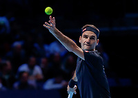 Tennis - 2019 Nitto ATP Finals at The O2 - Day Seven<br /> <br /> Semi Finals: Stefanos Tsitsipas (Greece) Vs. Roger Federer (Switzerland) <br /> <br /> Roger Federer (Switzerland) serves<br /> <br /> COLORSPORT/DANIEL BEARHAM<br /> <br /> COLORSPORT/DANIEL BEARHAM