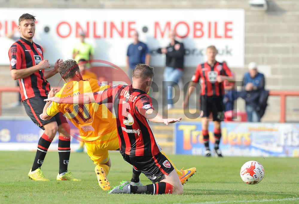Matty Taylor of Bristol Rovers makes it 3-1- Mandatory byline: Neil Brookman/JMP - 07966 386802 - 03/10/2015 - FOOTBALL - Globe Arena - Morecambe, England - Morecambe FC v Bristol Rovers - Sky Bet League Two