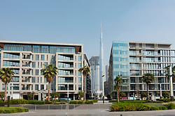 New apartment buildings and street at  City Walk shopping district in Dubai, UAE