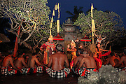 Kecak dancers in Batubulan during their performance. Kecak is the most unique Balinese dance in which instead of music 100 men chant Cak. In the 1930s Ramayana story was added to the original trance dance.