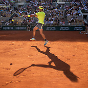 PARIS, FRANCE May 31. Rafael Nadal of Spain in action against David Goffin of Belgium during the Men's Singles third round match on Court Philippe-Chatrier at the 2019 French Open Tennis Tournament at Roland Garros on May 31st 2019 in Paris, France. (Photo by Tim Clayton/Corbis via Getty Images)