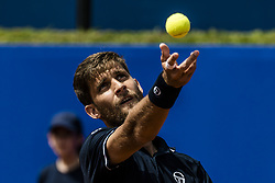 April 25, 2018 - Barcelona, Catalonia, Spain - MARTIN KLIZAN (SVK) serves against Novak Djokovic (SRB) during Day 3 of the 'Barcelona Open Banc Sabadell' 2018.  Klizan won 6:2, 1:6, 6:3 (Credit Image: © Matthias Oesterle via ZUMA Wire)