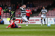 Forest Green Rovers Liam Noble(15) is tripped by York City's Sam Muggleton(24) during the Vanarama National League match between York City and Forest Green Rovers at Bootham Crescent, York, England on 29 April 2017. Photo by Shane Healey.