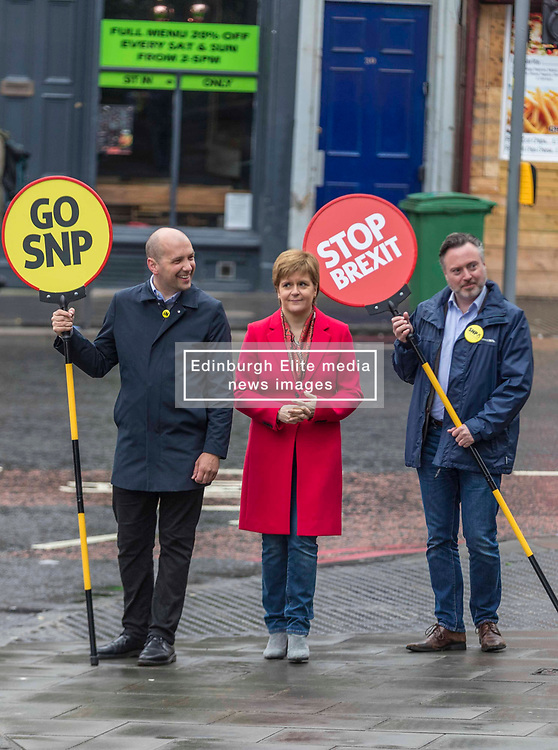 SNP Party Leader, Nicola Sturgeon and European Parliament Election candidate Alyn Smith take to the streets of Leith to campaign for the forthcoming EU elections