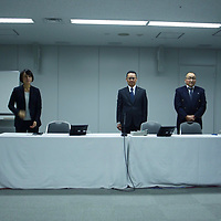 December 15 ,2017 Japan Tokyo Tepco headquarter, press conference panel of Tepco specialists described massive amount of radioactive material in water tanks and  in underground waters at Fukushima NPP  and how to contain and filter processing mechanisms. Pierre Boutier